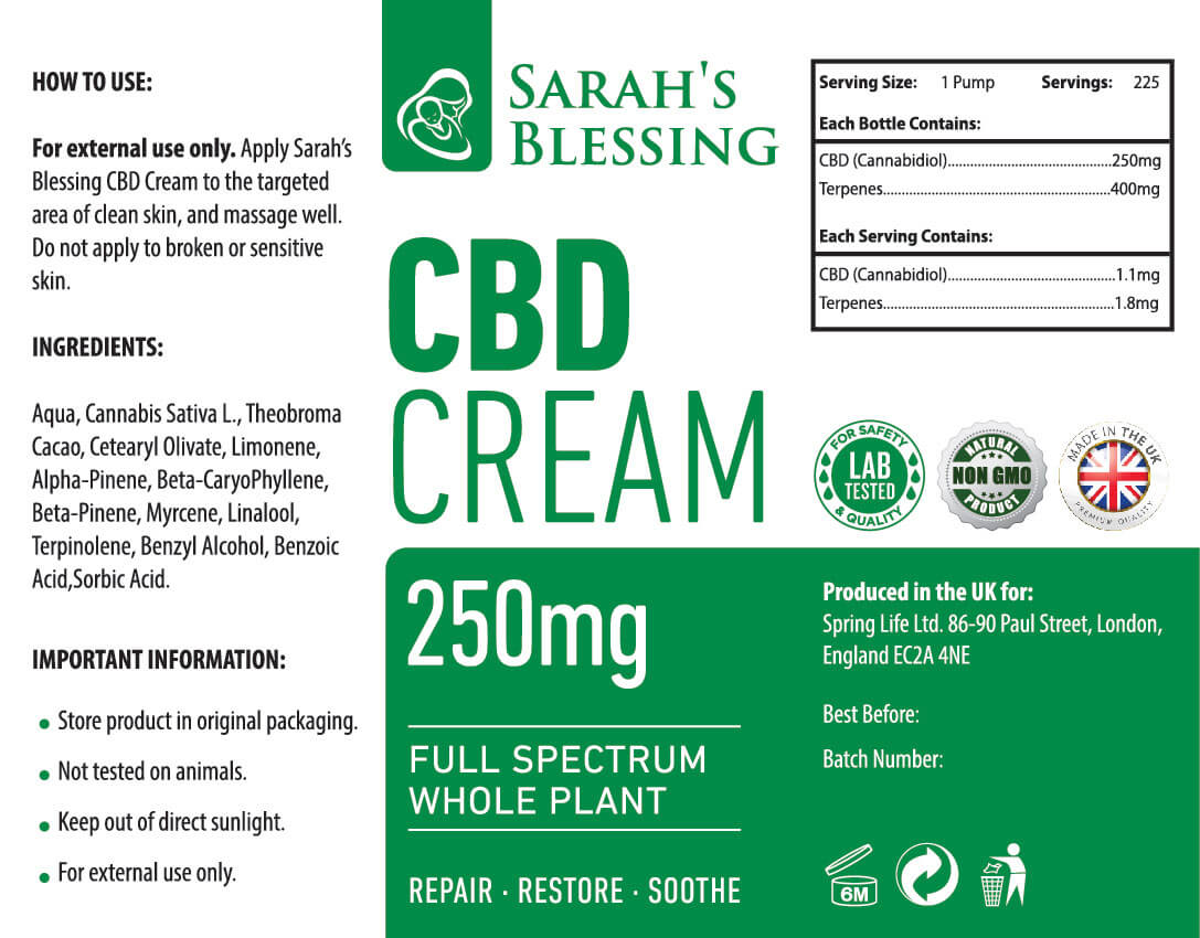 Vollspektrum-CBD-Crème, detailliertes Produktlabel